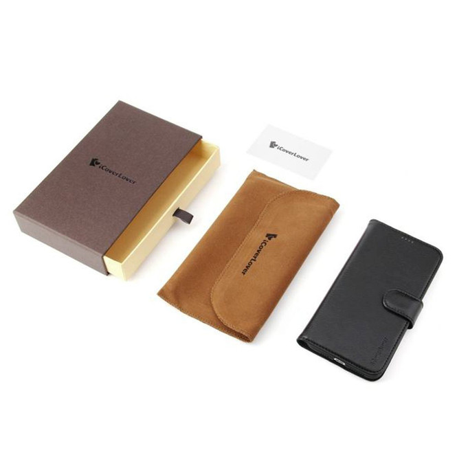 iPhone XS Max Case Black Real Top-grain Cow Leather Wallet Folio Case with 3 Card Slots, 1 Cash Compartment, Impact-proof, and Enhanced Grip | Genuine Leather iPhone XS Max Cases | Genuine Leather iPhone XS Max Covers