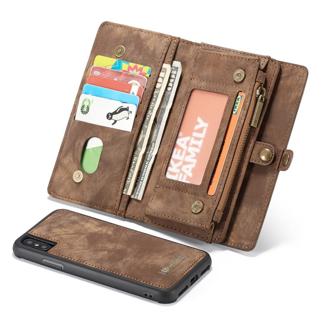 iPhone XS Max Case Brown Leather Multifunctional Case with 11 Card Slots, 1 Cash Slot, 1 Photo Display and Zipper Wallet   Leather Apple iPhone XS Max Cases   Leather Apple iPhone XS Max Covers   iCoverLover