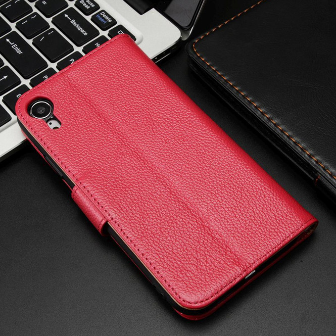 iPhone XR Case Pink Fashion Cowhide Genuine Leather Wallet Cover with 2 Card Slots, 1 Cash Slot & Built-in Kickstand   Genuine Leather iPhone XR Covers Cases   Genuine Leather iPhone XR Covers