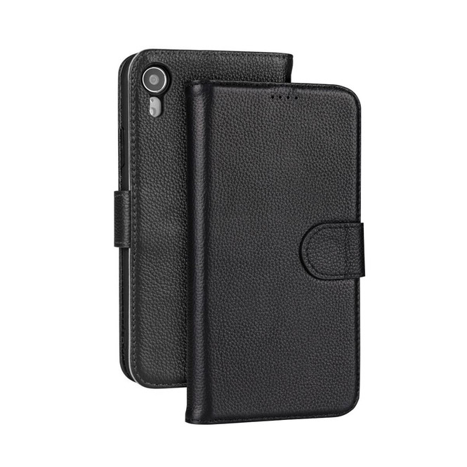 iPhone XR Case Black Fashion Cowhide Genuine Leather Wallet Cover with 2 Card Slots, 1 Cash Slot & Built-in Kickstand   Genuine Leather iPhone XR Covers Cases   Genuine Leather iPhone XR Covers