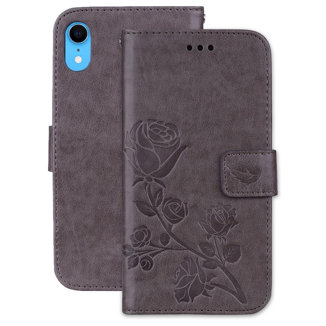 iPhone XR Case Grey Rose-Embossed Horizontal Flip PU Leather Cover With 2 Card Slots, Cash Pocket Compartment   Leather Apple iPhone XR Cases   Leather Apple iPhone XR Covers   iCoverLover