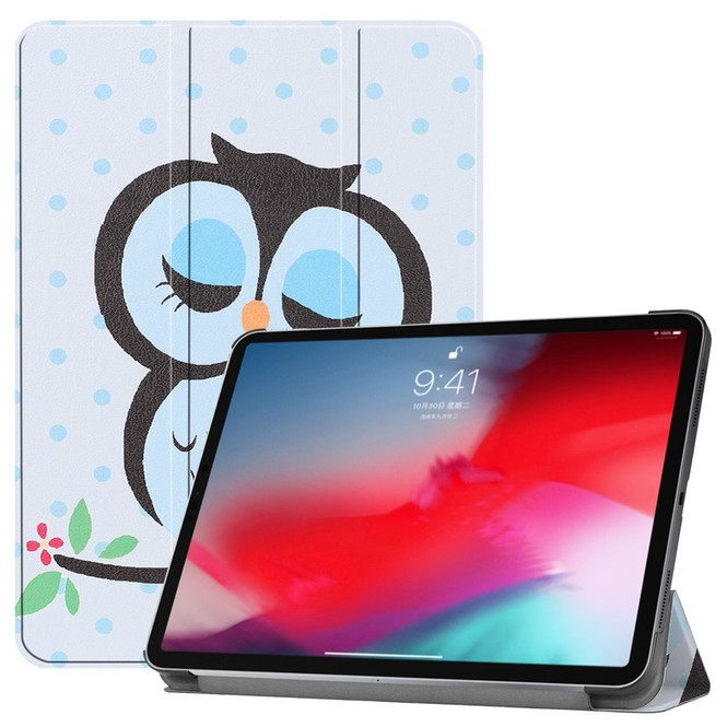 iPad Pro 11 Inch 2018 Case Blue Dots & Owl Pattern PU Leather Folio Cover With Three Fold Holder And Wake/Sleep Function | Leather iPad Pro 11 Inch Cases | iPad Pro 11 Inch Covers | iCoverLover