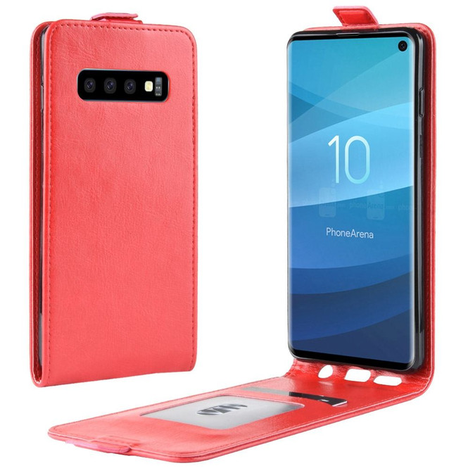 Samsung Galaxy S10 Case Red Business Style PU Leather Vertical Flip-Style Cover with 1 Card Compartment, Slim Build | Leather Samsung Galaxy S10 Covers | Leather Samsung Galaxy S10 Cases | iCoverLover