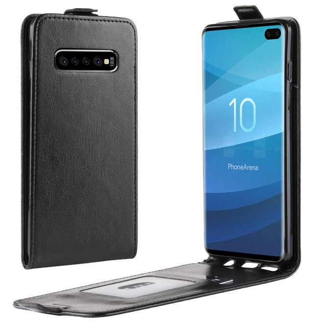 Samsung Galaxy S10+ PLUS Case Black TPU and PU Leather Vertical Flip Cover with 1 Card Compartment, Flap Closure   Leather Samsung Galaxy S10+ PLUS Covers   Leather Samsung Galaxy S10+ PLUS Cases   iCoverLover