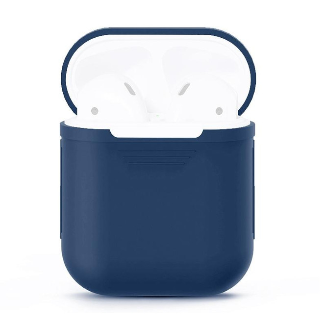For Apple Airpods 1 & 2 Storage Bag Dark Blue Silicone Protective Box with Impact-resistant, Scratch-proof, Anti-Slip and Anti-lost   AirPods Accessories   iCoverLover