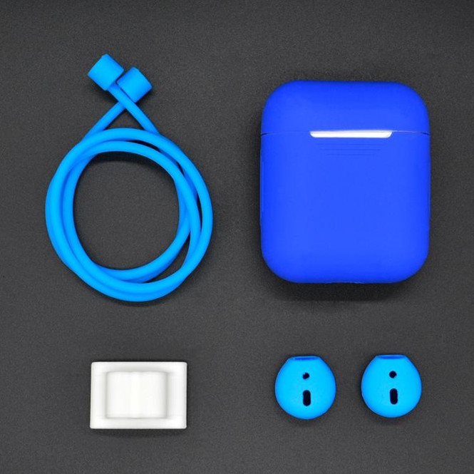 For Apple Airpods 1 & 2 Dark Blue Shockproof Cover Case Set with Antiloss Rope, Silicone Case, Earphone Hang Buckle, Earplug Cover | AirPods Accessories | iCoverLover