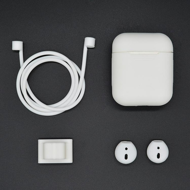 For Apple Airpods 1 & 2 White Shockproof Cover Case Set with Anti-Lost Rope, Silicone Case, Earphone Hang Buckle and Earplug Cover | AirPods Accessories | iCoverLover