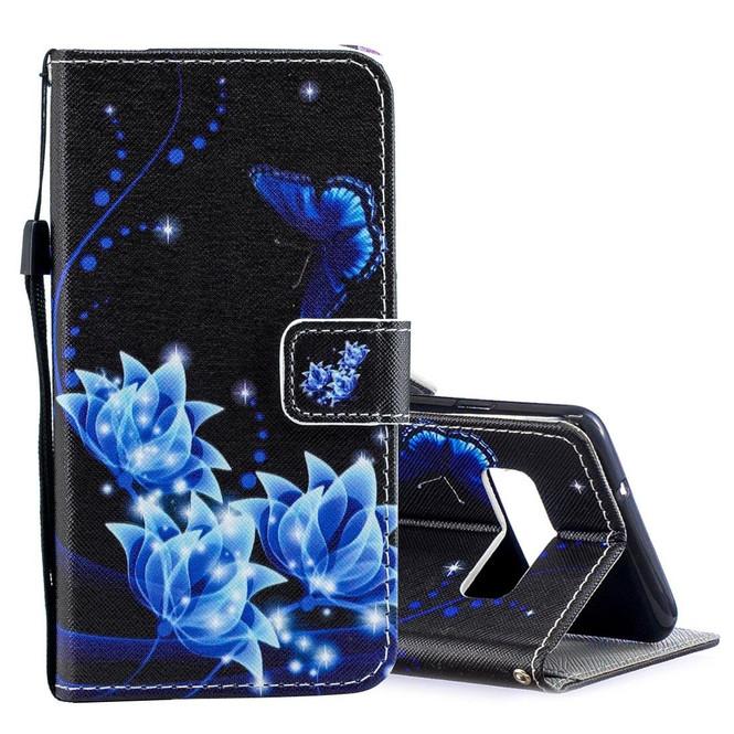 Samsung Galaxy S10 Case Blue Flower Pattern PU Leather Folio Cover, 2 Card Slots, 1 Cash Pocket, Kickstand, Lanyard   Leather Samsung Galaxy S10 Covers   Leather Samsung Galaxy S10 Cases   iCoverLover