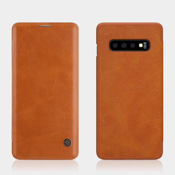 Samsung Galaxy S10+ Plus Case Brown Wild Horse Texture PU Leather Folio Cover with 1 Card Slot and Ultra Slim | Leather Samsung Galaxy S10+ Plus Covers | Leather Samsung Galaxy S10+ Plus Cases | iCoverLover