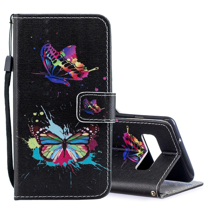 Samsung Galaxy S10e Case Colored Butterfly Pattern PU Leather Horizontal Flip Case with Attached Holder & Kickstand   Leather Samsung Galaxy S10e Covers   Leather Samsung Galaxy S10e Cases   iCoverLover