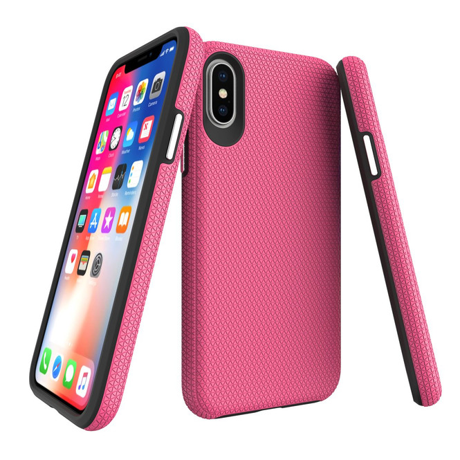 iPhone XS & X Case Pink TPU and PC Combination Shockproof Armor Back Cover | Armor Apple iPhone XS & X Covers | Armor Apple iPhone XS & X Cases | iCoverLover
