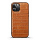 iPhone 12 Pro Max/12 Pro/12 mini Case, Genuine Leather Crocodile Texture Cover, Brown | iCoverLover Australia