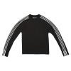 3-Stripe Long Sleeve Black Tee