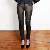 Gold-Painted Stretch Leather Pants