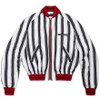 B & W Stripe Silk Bomber Jacket