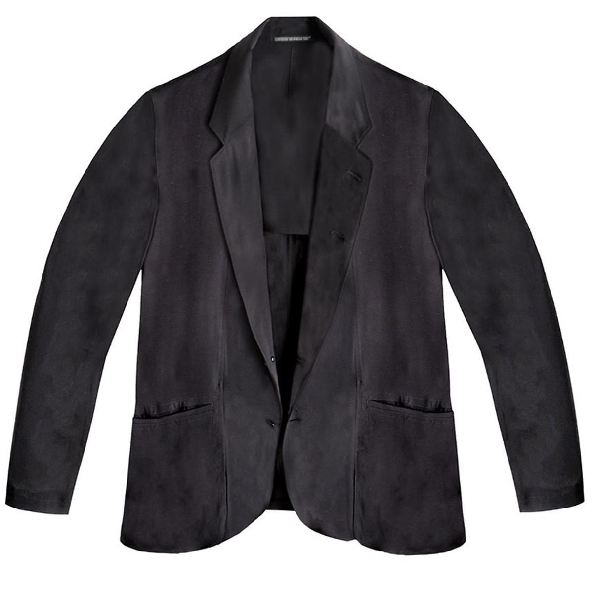 d8ba99a1ef35 Yohji Yamamoto Black Lawn Suit with Draped Pockets