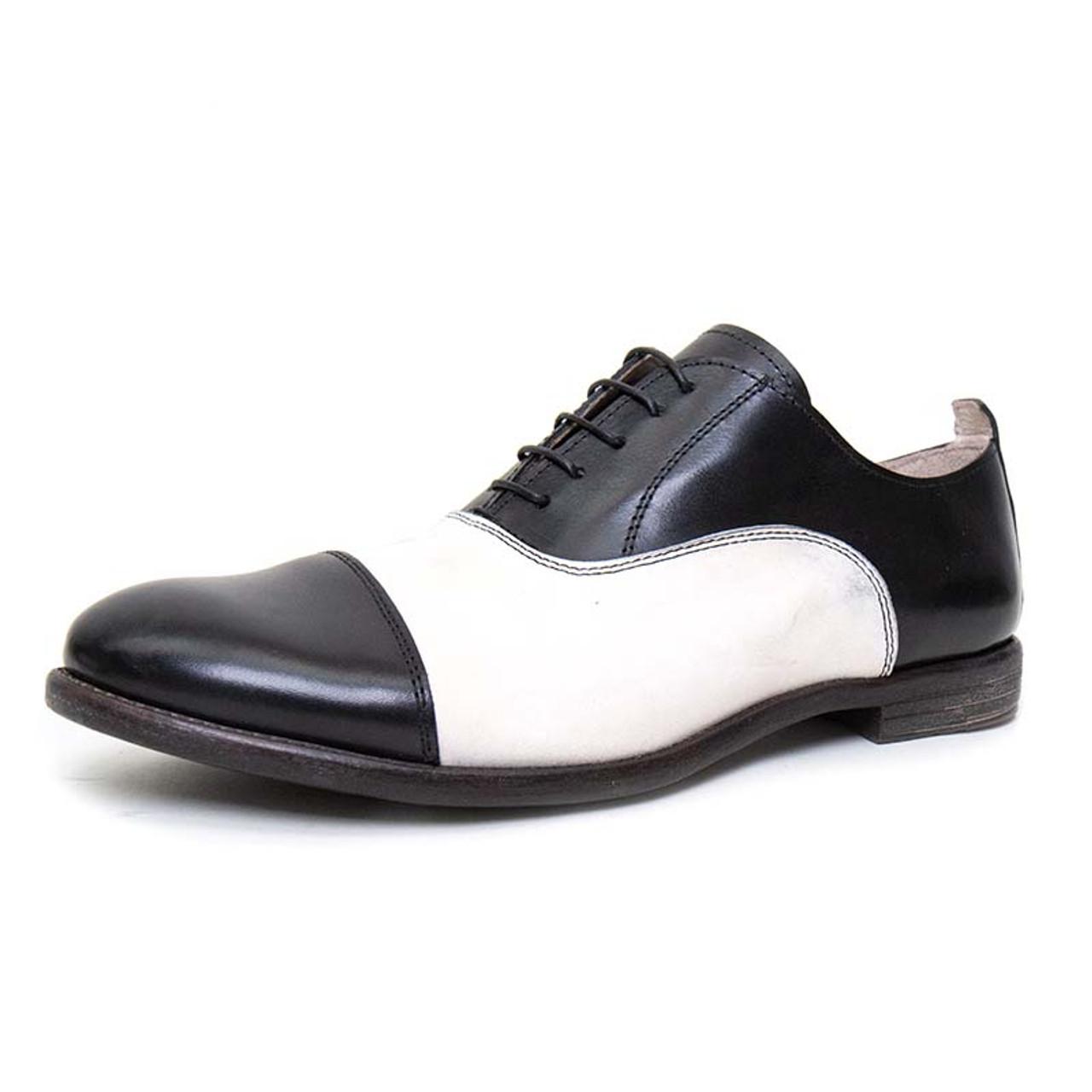 Moma Black \u0026 White Leather Derby Shoe