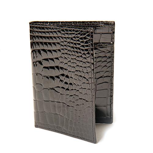 Glossy Black Alligator  Folding Wallet