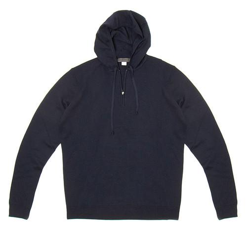 Navy Merino Half-Zip Hoodie