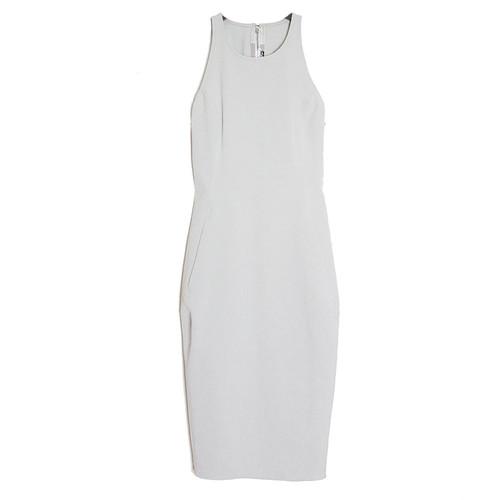 High-Neck Zipped Sheath Dress