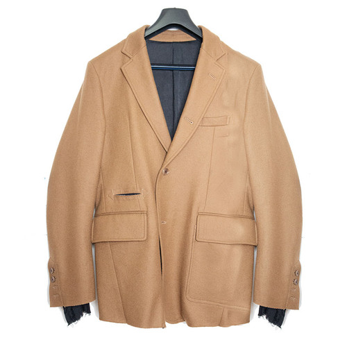 Camel Wool Jacket with Unfinished Lining