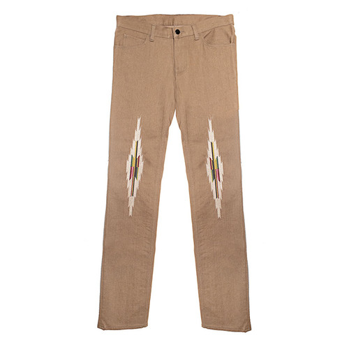 Western Embroidered Beige Trouser
