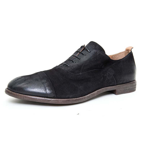 Black Buffed Nubuck Derby Shoe