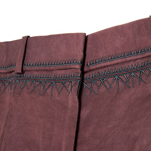 Maroon Pants with Black Embroidery
