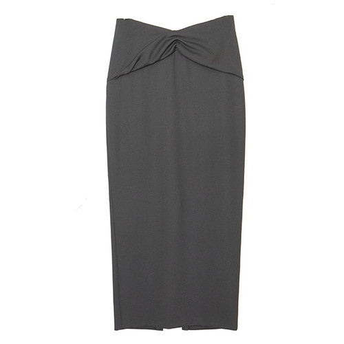 Black Front Twist Drape Skirt