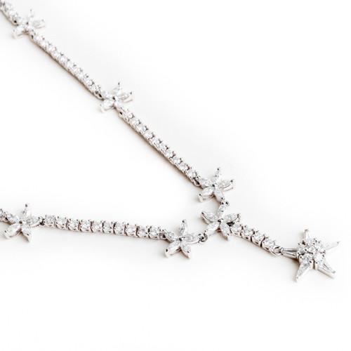 8 Star White Gold Diamond Necklace