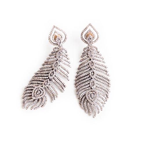 Diamond Studded Feather Earrings