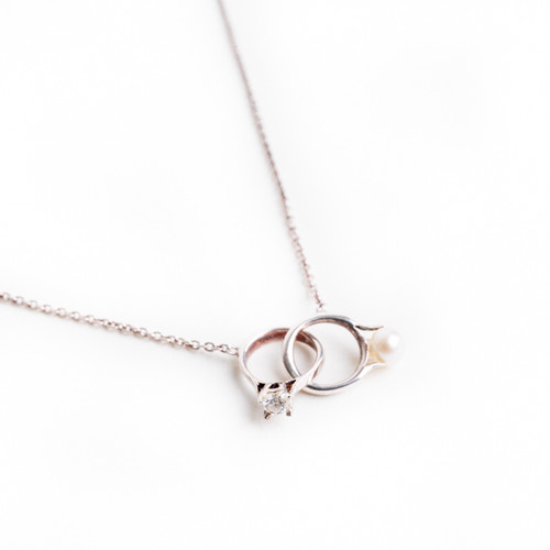 Joined Diamond & Pearl 'Ring' Necklace