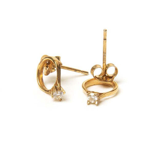 Diamond Ring Stud Earrings