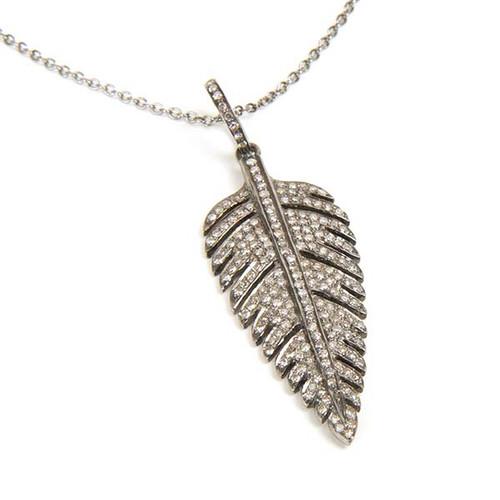 Diamond Studded Feather Pendant Necklace