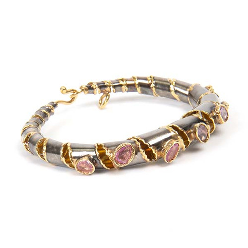 Golden-Lined Coiled Gem Bracelet