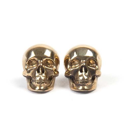 Gold Half Skull Stud Earrings