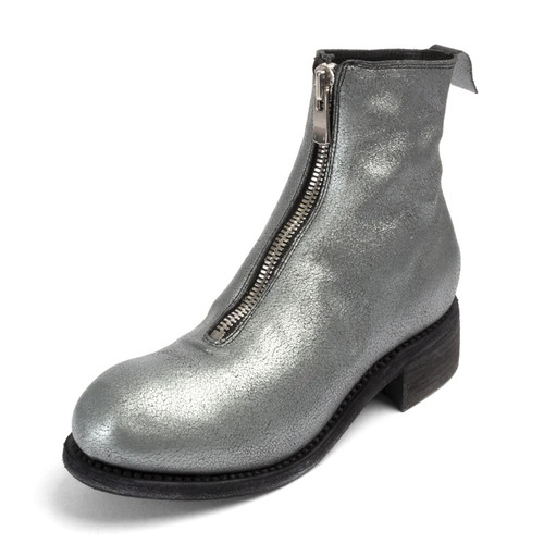 Silver Front Zip Ankle Boot