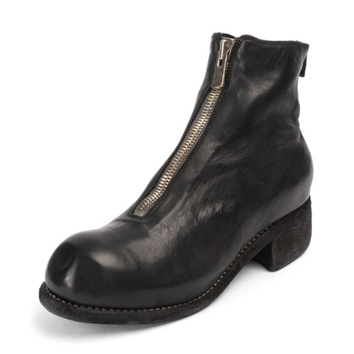 Black Front Zip Ankle Boot