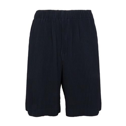 Navy Pleated Shorts