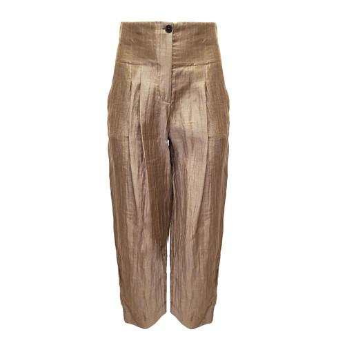 Brown High Waist Cropped Trouser