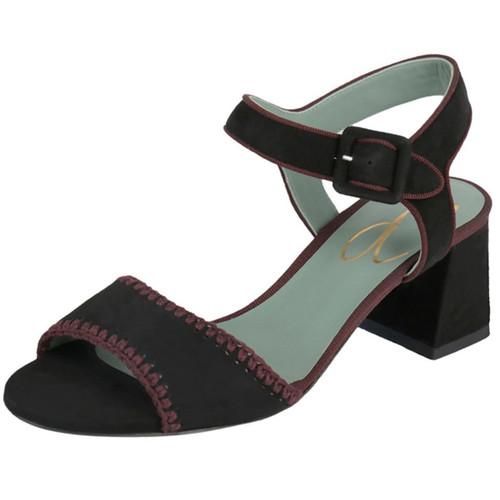 Black & Red Suede Block Heel