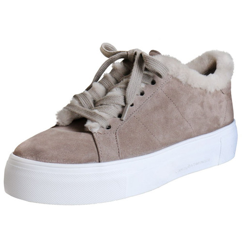 Taupe Suede & Shearling Platform Sneaker