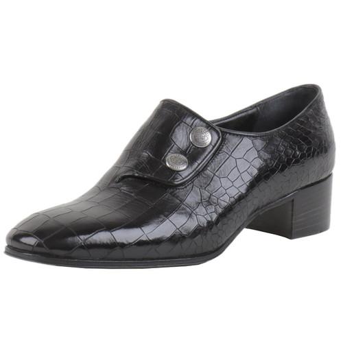Black Croc Two Button Shoe