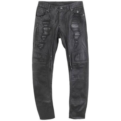 Charcoal 'Crush' Drawstring Jeans