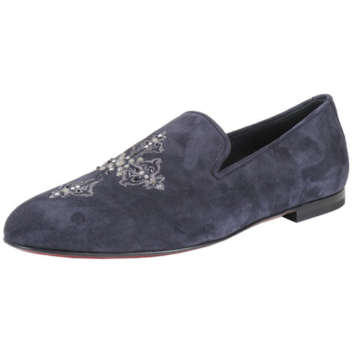 Embroidered Navy Suede Slipper