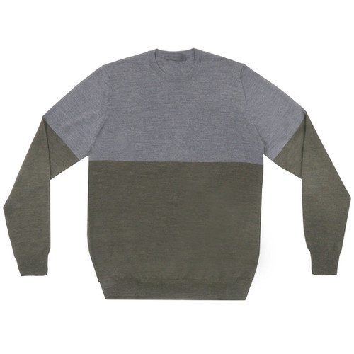Grey & Green Colorblock Crewneck