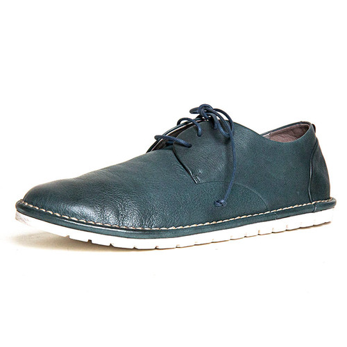 Teal Leather White Sole Lace Shoe
