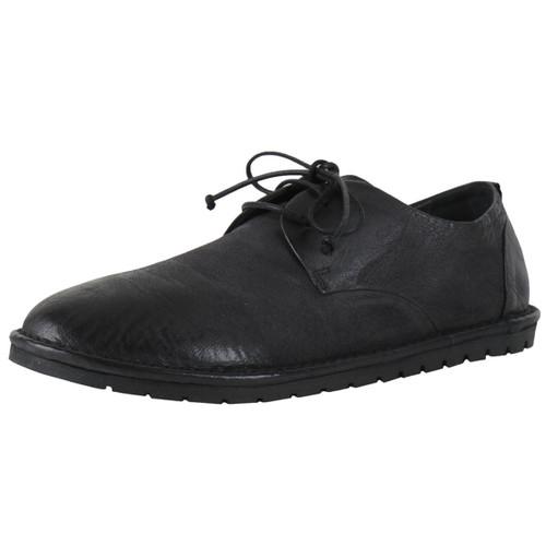 Black Leather White Sole Lace Shoe