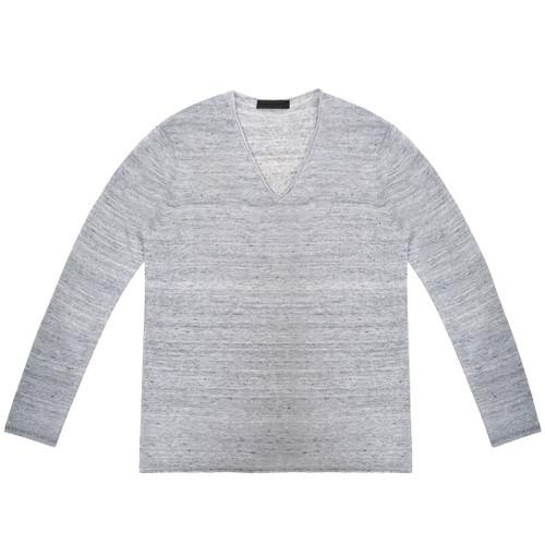 Grey V Neck Linen Long Sleeve Sweater