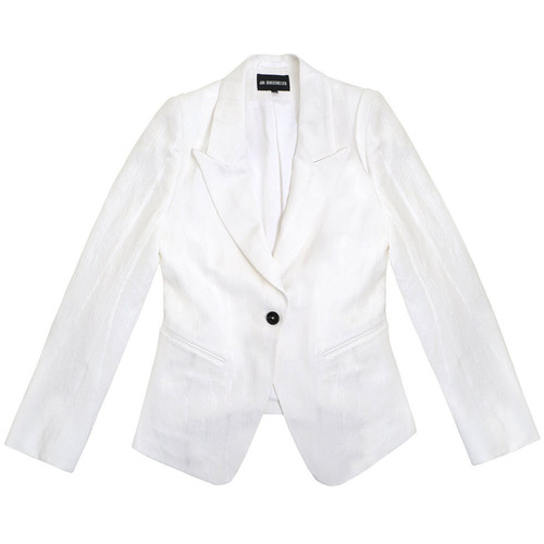 White Striped One Button Jacket